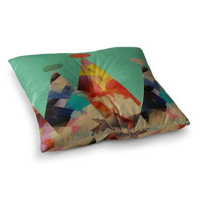 Rainbow Peaks Triangles by Bri Buckley Floor Pillow Size: 23 x 23