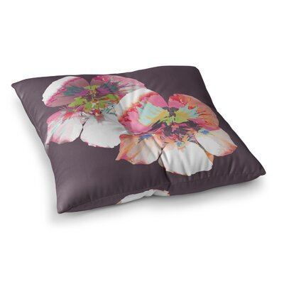Graphic Flower Nasturtium by Love Midge Floor Pillow Size: 26 x 26, Color: Pink/Coral