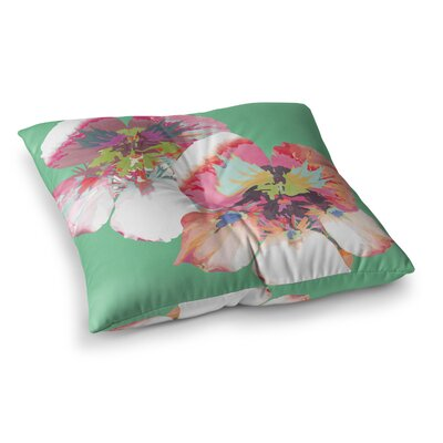 Graphic Flower Nasturtium by Love Midge Floor Pillow Size: 26 x 26, Color: Green/Magenta/Mint