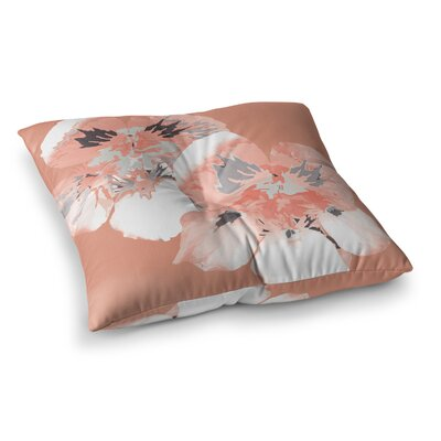 Graphic Flower Nasturtium by Love Midge Floor Pillow Size: 26 x 26, Color: Lavender