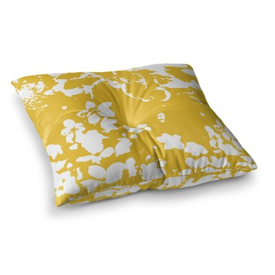 Helena Floral by Love Midge Floor Pillow Size: 23 x 23, Color: Yellow/White/Gold