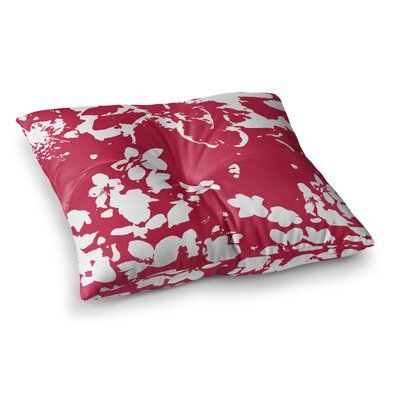 Helena Floral by Love Midge Floor Pillow Size: 26 x 26, Color: Red/White