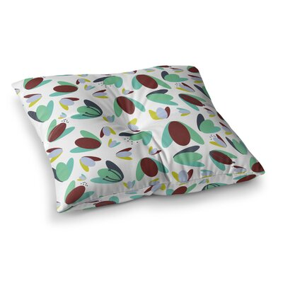 1970s Floral Geometric Abstract by Love Midge Floor Pillow Size: 26 x 26, Color: Brown/Blue