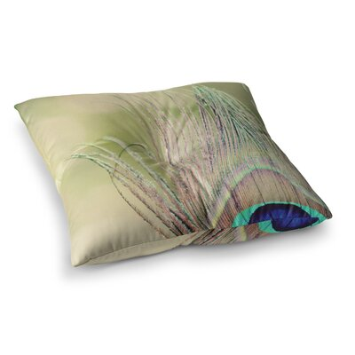 Sun Kissed Peacock Feather by Beth Engel Floor Pillow Size: 26 x 26