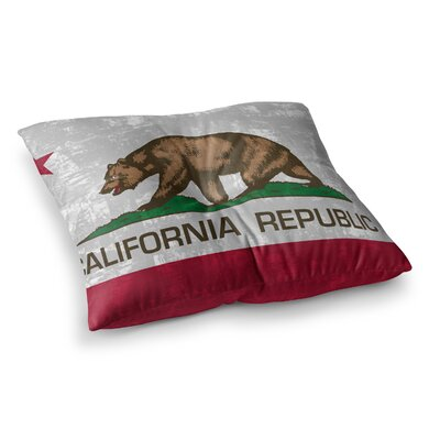 California Flag by Bruce Stanfield Floor Pillow Size: 26 x 26, Color: Red/Gray