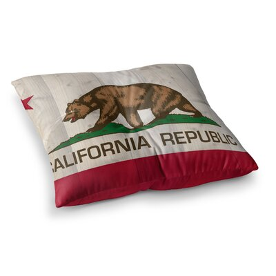 California Flag by Bruce Stanfield Floor Pillow Size: 26 x 26, Color: Brown