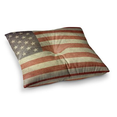 Flag of US Retro Rustic by Bruce Stanfield Floor Pillow Size: 26 x 26