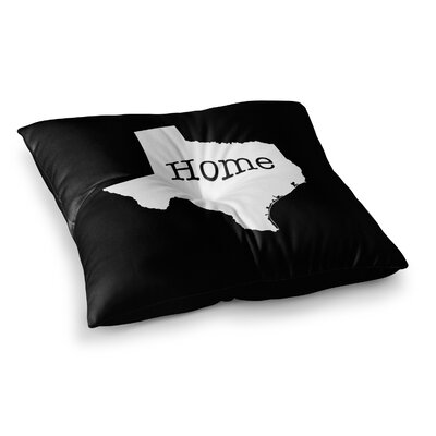 Texas State Outline by Bruce Stanfield Floor Pillow Size: 23 x 23, Color: White/Black