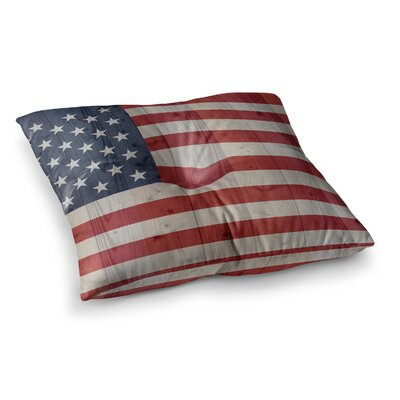USA Flag on Spruce by Bruce Stanfield Floor Pillow Size: 26 x 26