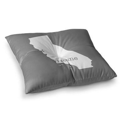 California State by Bruce Stanfield Floor Pillow Size: 26 x 26, Color: Gray/White