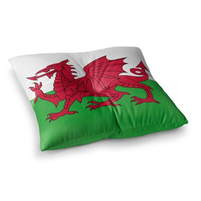 Flag of Wales - Authentic Fantasy Illustration by Bruce Stanfield Floor Pillow Size: 26 x 26