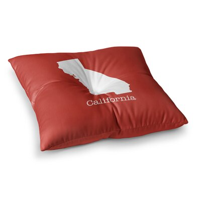 California State by Bruce Stanfield Floor Pillow Size: 26 x 26, Color: Red/White