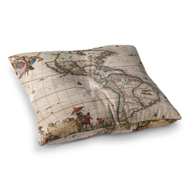 Vintage Map of the Americas by Bruce Stanfield Floor Pillow Size: 26 x 26