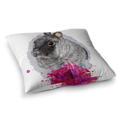 BunnyRose Animals Painting by Cecibd Floor Pillow Size: 26 x 26