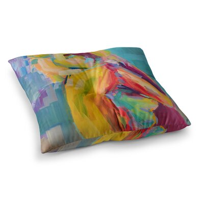 Turquesa Abstract by Cecibd Floor Pillow Size: 26 x 26