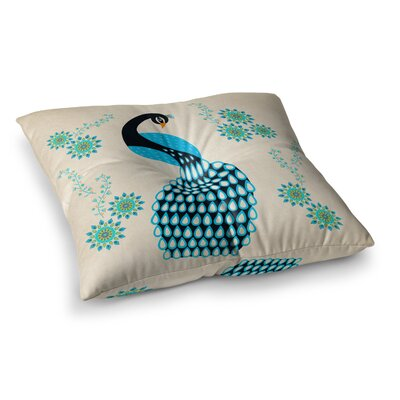 Peacock Illustration by Cristina Bianco Design Floor Pillow Size: 26 x 26