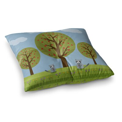Cute Raccoons and Apple Trees Illustration by Cristina Bianco Design Floor Pillow Size: 23 x 23