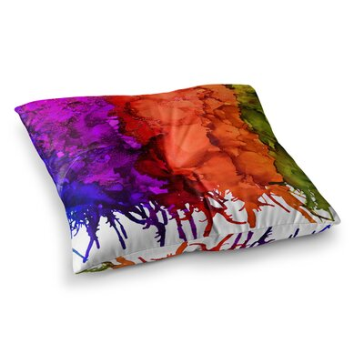 Rainbow Splatter by Claire Day Floor Pillow Size: 23 x 23