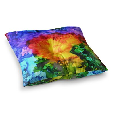 Karma Rainbow Paint by Claire Day Floor Pillow Size: 23 x 23