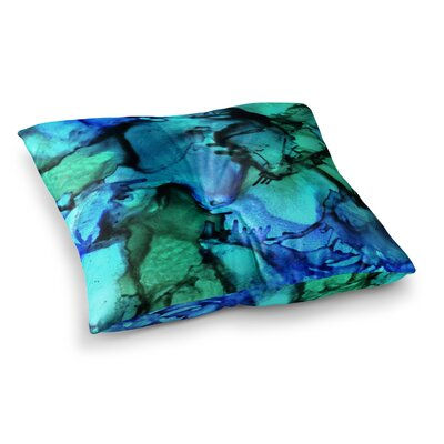 Tidal Waves Painting by Claire Day Floor Pillow Size: 23 x 23