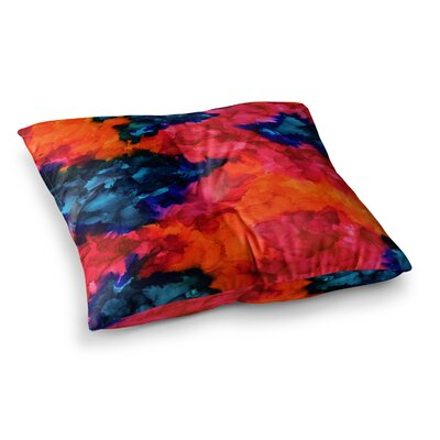 Jaded Abstract Painting by Claire Day Floor Pillow Size: 26 x 26