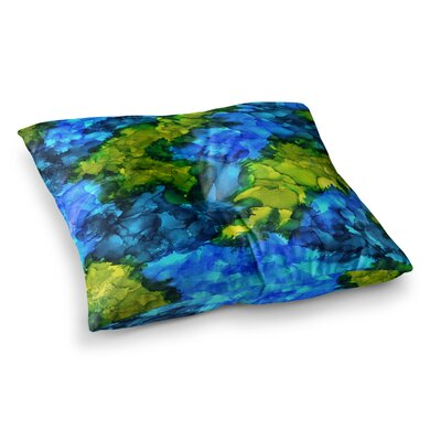 Islands Abstract Painting by Claire Day Floor Pillow Size: 26 x 26
