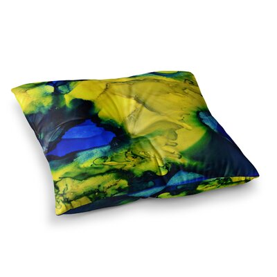 Drifting Abstract Painting by Claire Day Floor Pillow Size: 23 x 23