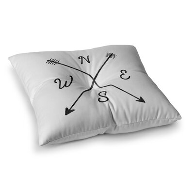 Cardinal Direction by Draper Floor Pillow Size: 23 x 23, Color: White