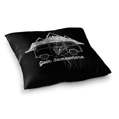 Going Somewhere by Draper Floor Pillow Size: 26 x 26, Color: Black