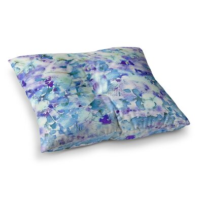 Floral Fantasy by Carolyn Greifeld Floor Pillow Size: 26 x 26, Color: Blue/Purple/White