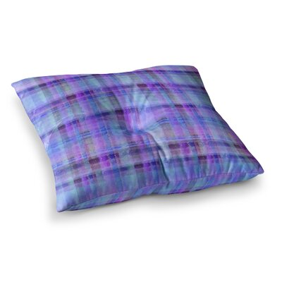 Watercolor Plaid by Carolyn Greifeld Floor Pillow Size: 23 x 23, Color: Blue/Purple