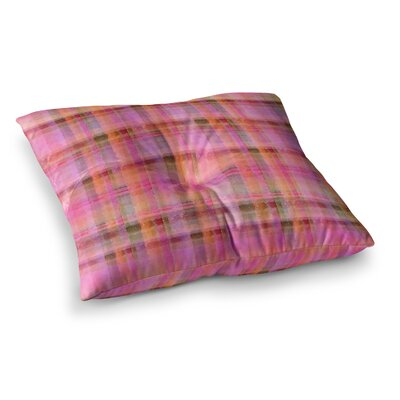 Watercolor Plaid by Carolyn Greifeld Floor Pillow Size: 26 x 26, Color: Pink/Yellow
