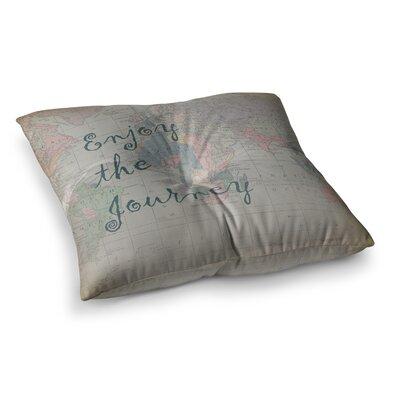 Journey World Map by Catherine Holcombe Floor Pillow Size: 26 x 26