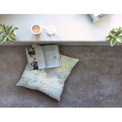 Travel World Map by Catherine Holcombe Floor Pillow Size: 23 x 23