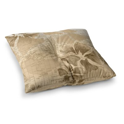 Flower Power Map by Catherine Holcombe Floor Pillow Size: 23 x 23, Color: Tan/Brown
