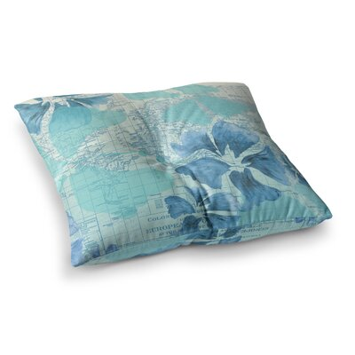 Flower Power Map by Catherine Holcombe Floor Pillow Size: 23 x 23, Color: Blue/Aqua