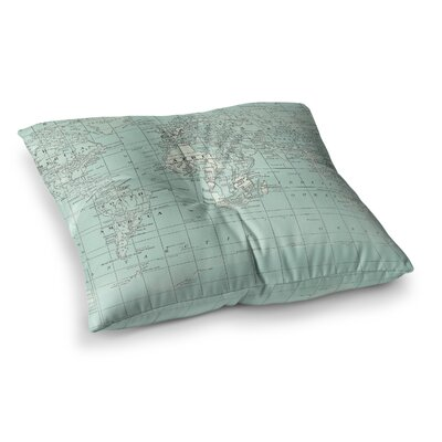 The Old World by Catherine Holcombe Floor Pillow Size: 26 x 26, Color: Teal/Blue