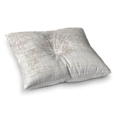 The Old World by Catherine Holcombe Floor Pillow Size: 23 x 23, Color: Cream/White