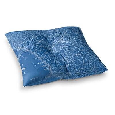Los Angeles Streets Map by Catherine Holcombe Floor Pillow Size: 26 x 26