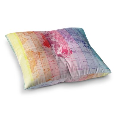 Rainbow World Map by Catherine Holcombe Floor Pillow Size: 23 x 23