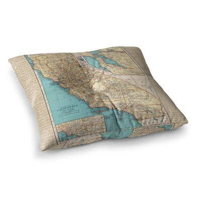 So Cal Surf Map by Catherine Holcombe Floor Pillow Size: 23 x 23