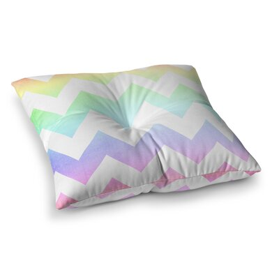 Water Color Chevron by Catherine McDonald Floor Pillow Size: 26 x 26