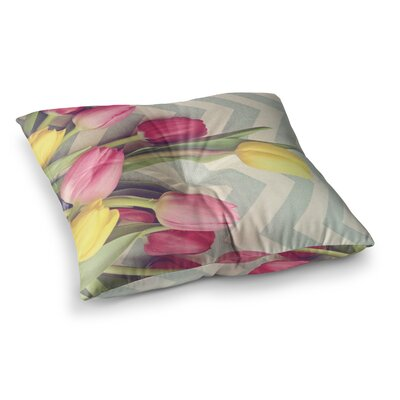 Tulips and Chevrons by Catherine McDonald Floor Pillow Size: 23 x 23