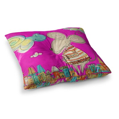 Urban Mouse by Carina Povarchik Floor Pillow Size: 26 x 26, Color: Pink/Magenta/Yellow
