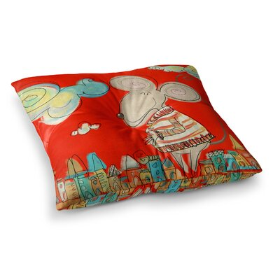 Urban Mouse by Carina Povarchik Floor Pillow Size: 26 x 26, Color: Teal/Yellow/Red