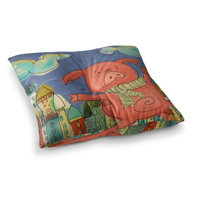 Happy Urban Pig by Carina Povarchik Floor Pillow Size: 26 x 26