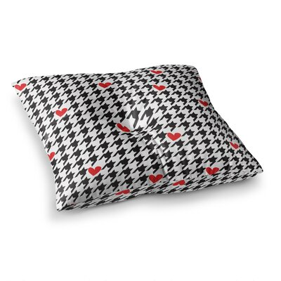 Spacey Houndstooth Heart by Empire Ruhl Floor Pillow Size: 26 x 26