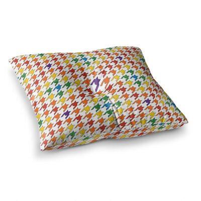 Rainbow Houndstooth by Empire Ruhl Floor Pillow Size: 26 x 26