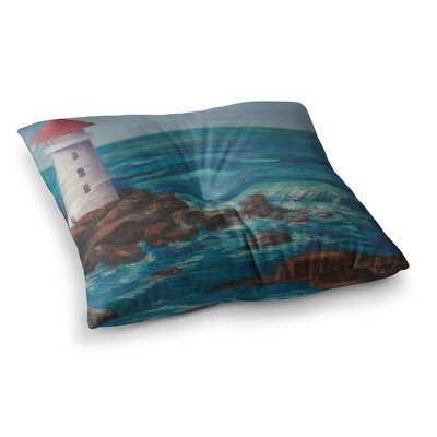 The Lighthouse Rocks Painting by Cyndi Steen Floor Pillow Size: 26 x 26