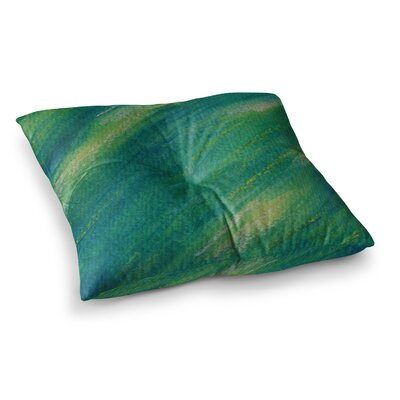 Phthalo Abstract Watercolor by Cyndi Steen Floor Pillow Size: 26 x 26